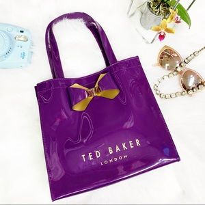 TED BAKER BOWICON Bow Shopping Tote Purple Gold